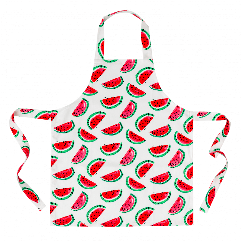 bright watermelons on a childs apron